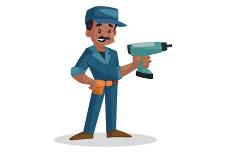Vector graphic illustration of electrician with drilling machine. Individually on a white background.