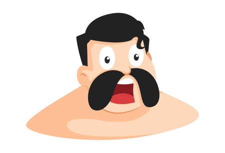 Vector cartoon illustration of the surprised wrestler. Isolated on a white background. Standard-Bild - 160363040