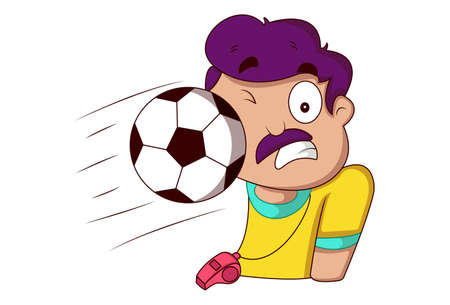 Vector cartoon illustration. Physical education teacher is playing with football. Isolated on a white background.