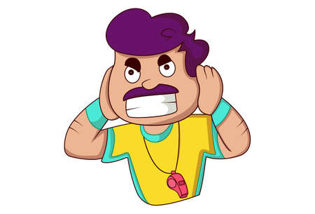 Vector cartoon illustration. Physical education teacher is shocked and closing his ears with hands. Isolated on a white background.