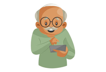 Vector graphic illustration. Grandfather is operating a smartphone. Individually on a white background.