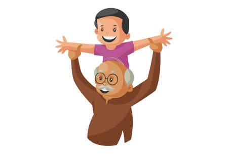 Vector graphic illustration. Grandfather is playing with his grandson. Individually on a white background.