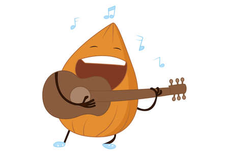 Vector cartoon illustration. Cute almond is playing guitar. Isolated on white background.