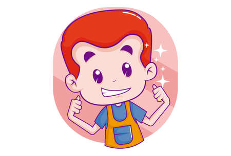 Vector cartoon illustration. Boy is giving thumbs-up signs. Isolated on white background.