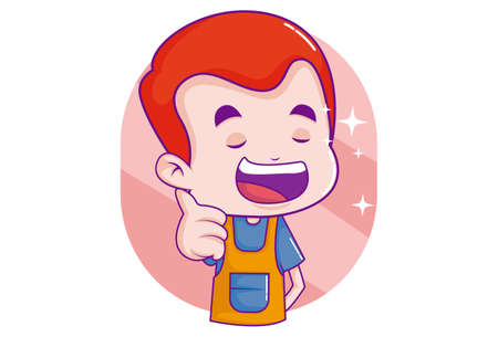 Vector cartoon illustration. Boy is happy and giving thumbs-up signs. Isolated on white background. 向量圖像