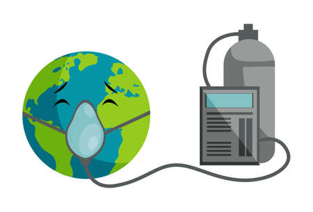 Vector graphic illustration of earth wearing an oxygen mask. Individually on a white background.
