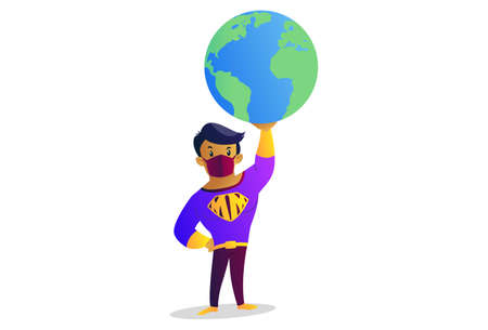 Vector graphic illustration. Mask man is holding the earth on one hand. Individually on a white background.