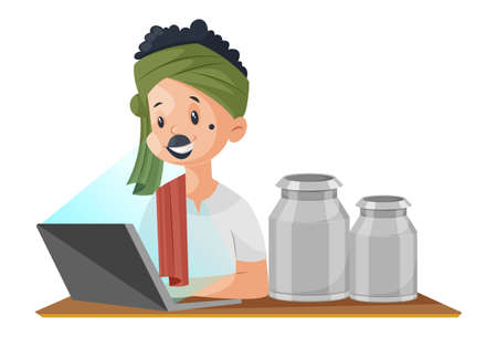 Vector graphic illustration. Milkman is working on the laptop. Individually on white background.