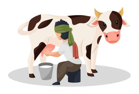 Vector graphic illustration. Milkman is extracting milk from the cow in bucket. Individually on a white background. Vetores