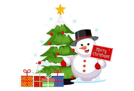 Vector cartoon illustration of a snowman with gift boxes and tree. Isolated on white background.