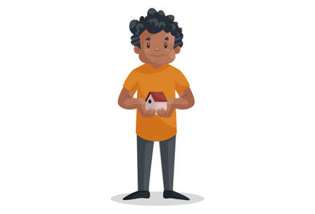 Vector graphic illustration. Office boy is holding a small home in hands. Individually on a white background.