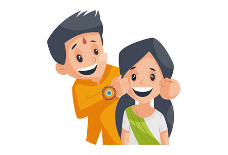 Vector graphic illustration. Brother is pulling his sister's cheek. Individually on a white background. Vecteurs