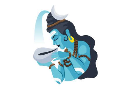 Vector graphic illustration. Lord Shiva is swallowing poison. Individually on a white background.