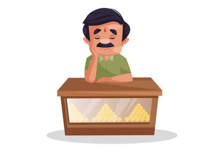 Vector graphic illustration. Confectioner is sitting sad. Individually on a white background.