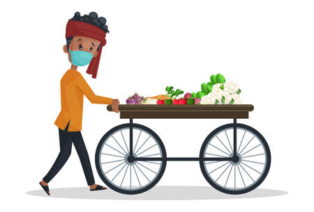 Vector graphic illustration. Vegetable seller is wearing mask and pushing the vegetable wooden cart. Individually on a white background.