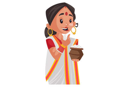 Vector graphic illustration. Indian Bengali woman is holding a rasgulla in hand and eating it. Individually on a white background. Illustration