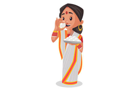 Vector graphic illustration. Indian Bengali woman holding rasgulla plate in hand and eating rasgulla. Individually on a white background.