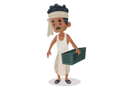 Vector graphic illustration. Indian Bihari man is holding container in hand. Individually on a white background.