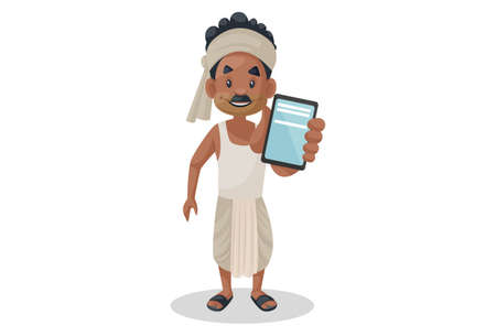 Vector graphic illustration. Indian bihari man is showing mobile phone. Individually on a white background.