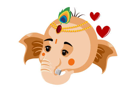 Vector graphic illustration of Lord Ganesh's face. Individually on white background.
