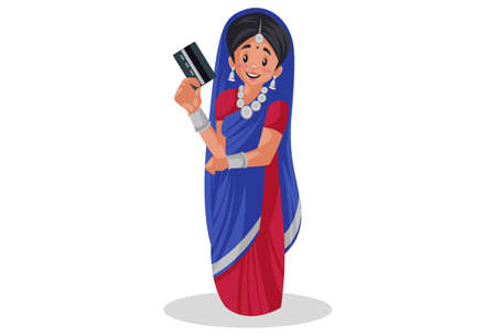Vector graphic illustration. Indian Gujarati woman is holding atm card in hand. Individually on a white background.