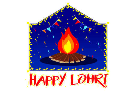 Happy Lohri text sticker. Vector cartoon illustration. Isolated on white background.