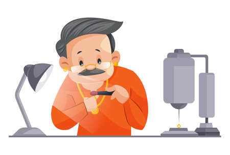Vector graphic illustration. Indian male jeweler is checking gold quality. Individually on a white background.