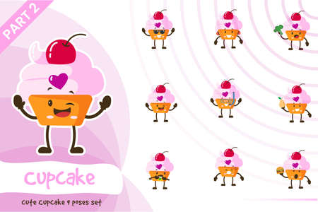 Cute cupcake poses set. Vector illustration. Isolated on white background.