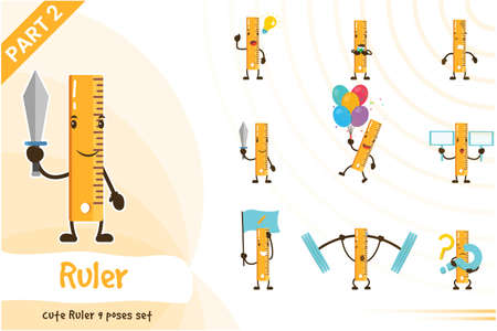 Cute ruler poses set. Vector illustration. Isolated on white background.