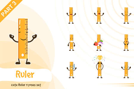 Cartoon ruler poses set. Vector illustration. Isolated on white background.