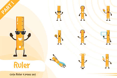 Cute ruler poses set. Vector cartoon illustration. Isolated on white background.