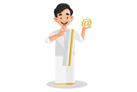 Vector graphic illustration. Indian Malayali man is holding an email sign on hand. Individually on a white background.