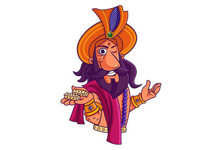 Vector cartoon illustration. Shakuni is showing his dice. Isolated on white background.