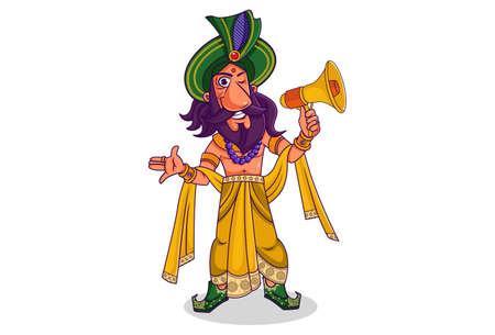 Vector cartoon illustration. Shakuni is holding the megaphone in hand. Isolated on white background.