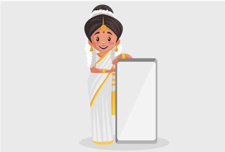 Vector graphic illustration. Indian Malayali woman is holding a blank board. Individually on a grey background. Illustration
