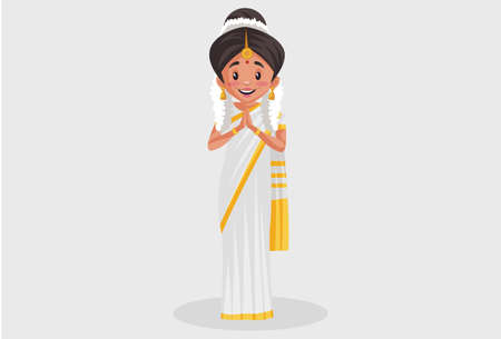 Vector graphic illustration. Indian Malayali woman is with greet hands. Individually on a grey background.