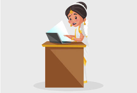 Vector graphic illustration. Indian Malayali woman is working on a laptop. Individually on a grey background. Illustration