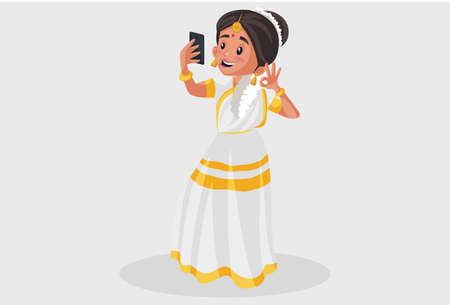 Vector graphic illustration. Indian Malayali woman is taking selfie in the mobile phone. Individually on a grey background.
