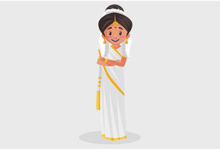 Vector graphic illustration. Indian Malayali woman is smiling. Individually on a grey background.