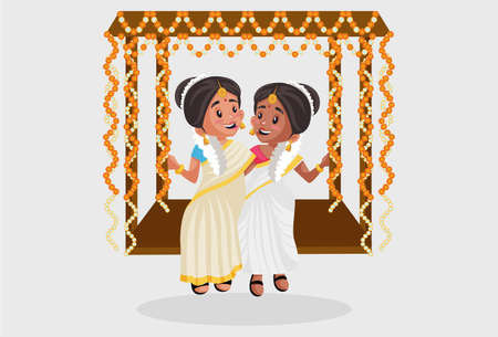 Vector graphic illustration. Indian Malayali women are sitting on a swing. Individually on a grey background.