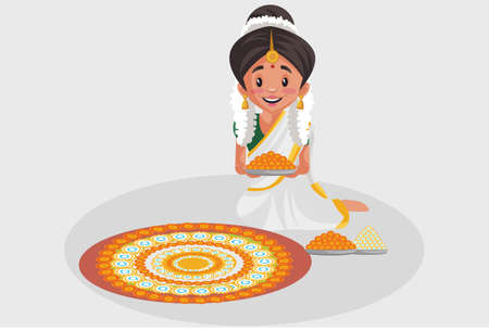Vector graphic illustration. Indian Malayali woman is decorating the floor with flowers. Individually on a grey background.