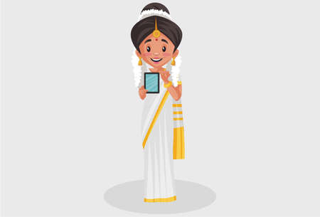 Vector graphic illustration. Indian Malayali woman is showing a mobile phone. Individually on a grey background.
