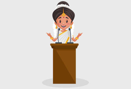 Vector graphic illustration. Indian Malayali woman is giving a speech on the podium. Individually on a grey background.