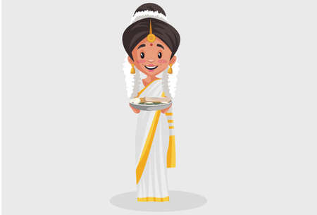Vector graphic illustration. Indian Malayali woman is holding a food plate in her hands. Individually on a grey background.