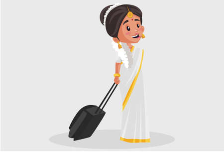 Vector graphic illustration. Indian Malayali woman is holding a suitcase. Individually on a grey background.