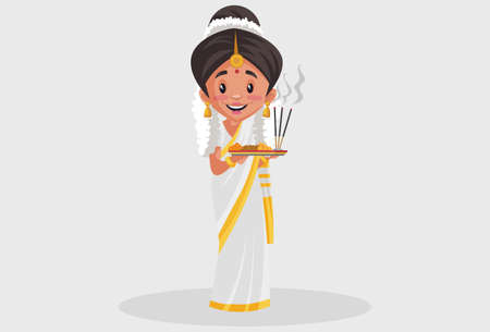 Vector graphic illustration. Indian Malayali woman is holding a worship plate in her hands. Individually on a grey background.