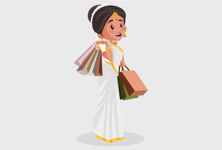 Vector graphic illustration. Indian Malayali woman is holding shopping bags in her hands. Individually on a grey background.