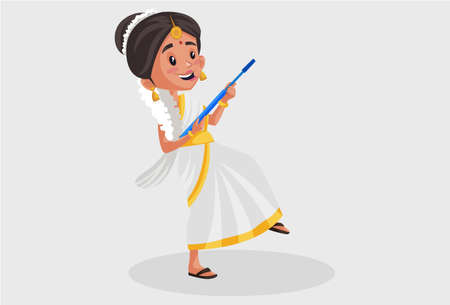 Vector graphic illustration. Indian Malayali woman is holding a mop in her hands. Individually on a grey background.