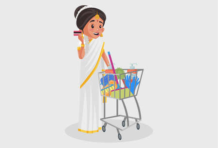 Vector graphic illustration. Indian Malayali woman is holding ATM card and shopping cart in hand. Individually on a grey background.