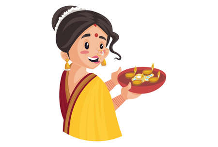Vector graphic illustration. Indian Marathi woman is holding the lamp plate in hand. Individually on a white background.